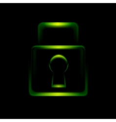 Green glowing lock symbol icon vector image