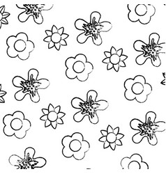Grunge tropical flowers with petals style vector