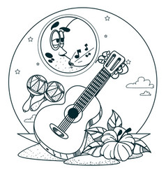 Guitar and maracas outline drawings for coloring vector