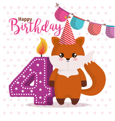 happy birthday card with fox vector image