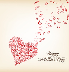 Hearts shape out of music flies motherss day vector