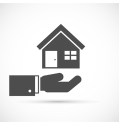 Holding house on hand vector