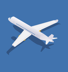 Isometric passenger aircraft back view with shadow vector