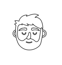 Line man head with closed eyes and hairstyle vector