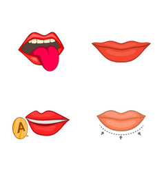 lips icon set cartoon style vector image
