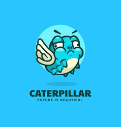 logo caterpillar simple mascot style vector image