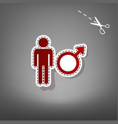 male sign red icon with for vector image
