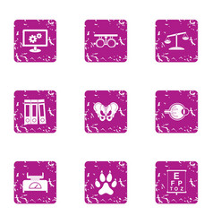medical case icons set grunge style vector image