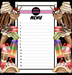 Menu for ice cream cafe vector