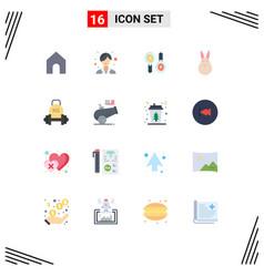 Modern set 16 flat colors pictograph vector