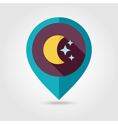 Moon and stars flat pin map icon Weather vector