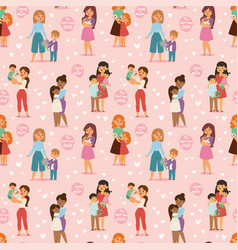 mother and children kids day woman day vector image