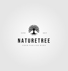 nature tree logo vintage design vector image