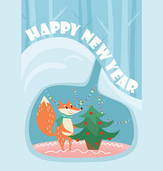 new year card with cute fox and decorated vector image