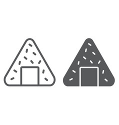 Onigiri line and glyph icon asian and food vector