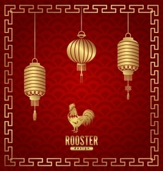 Oriental Banner for Chinese New Year Rooster vector image