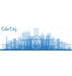 outline cebu city philippines skyline with blue vector image
