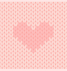 Pink knitted seamless pattern with heart vector
