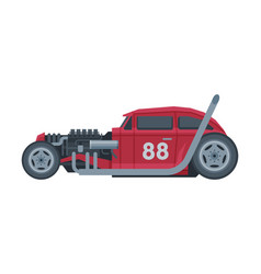 retro style red race car old sports automobile vector image