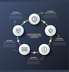 round flowchart with 5 white circular elements vector image