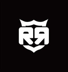 rr logo monogram with shield around crown shape vector image