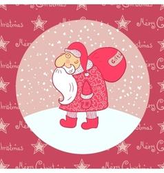 Santa Claus carries his bag vector image