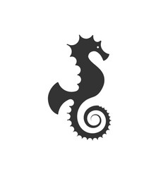 seahorse logo silhouette design - underwater sea vector image