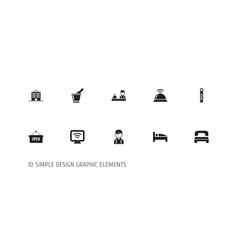 set of 10 editable hotel icons includes symbols vector image