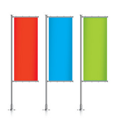 Set of colorful vertical banner flags vector