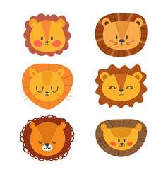 Set of cute lions funny doodle animals little vector