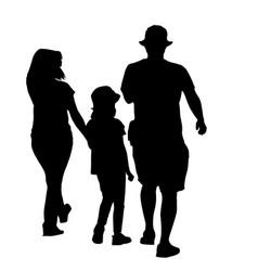 silhouette a family on white vector image