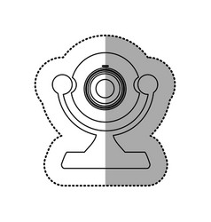 Silhouette digital computer camera icon vector