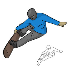 snowboarder with helmet jumping through air vector image