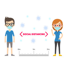 Social distancing keep distance in public people vector