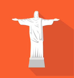 Statue of jesus cartoon flat icon brazil rio vector