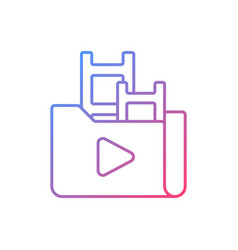 Streaming service library gradient linear icon vector