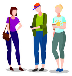 Students youth talking boy and girls with phone vector