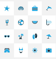 Summer colorful icons set collection of suitcase vector
