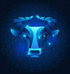 taurus zodiac sign blue star horoscope symbol vector image