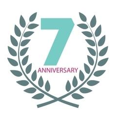 Template logo 7 anniversary in laurel wreath vector