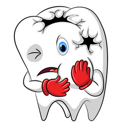 Toothache mascot big hole in his body vector