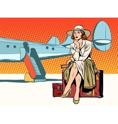 Tourist girl sitting on a suitcase travelling by vector image