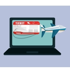 travel laptop ticket airline application vector image