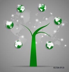 Tree with globe and world map vector image