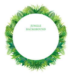 Tropical jungle round frame vector