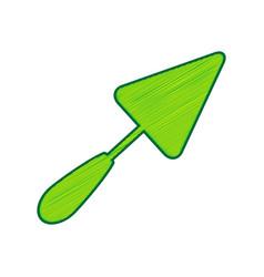 trowel sign lemon scribble icon on white vector image