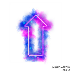 watercolor magic fire arrow with neon counter vector image