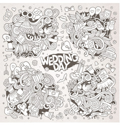 wedding and love sketchy doodle designs vector image
