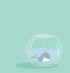 Whale spray of fishbowl vector