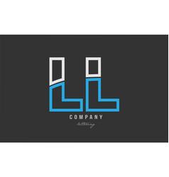 White blue alphabet letter ll l l logo icon design vector